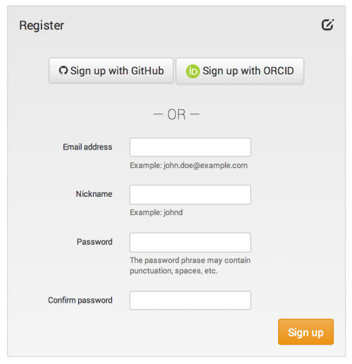 Zenodo registration screen. Users can also sign up with their GitHub or ORCID accounts.