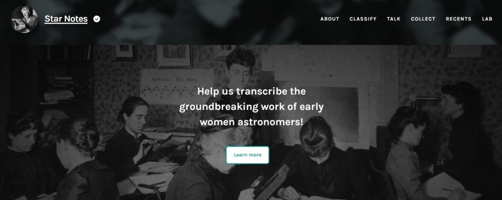 front page of Star Notes on Zooniverse