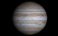 This true-color simulated view of Jupiter is composed of 4 images taken by NASA's Cassini spacecraft on December 7, 2000.