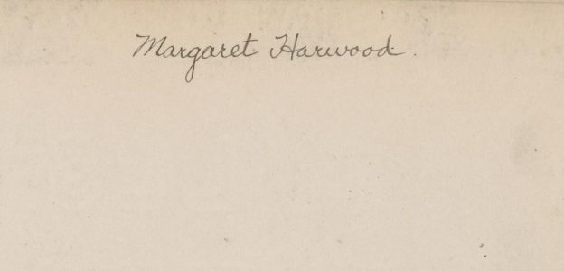 tan notebook page with Margaret Harwood signature